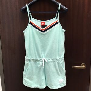 Mint Green Terrycloth Nike romper